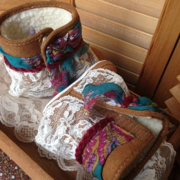 Embellished Reclaimed Booties made with Upcycled and Reclaimed Materials